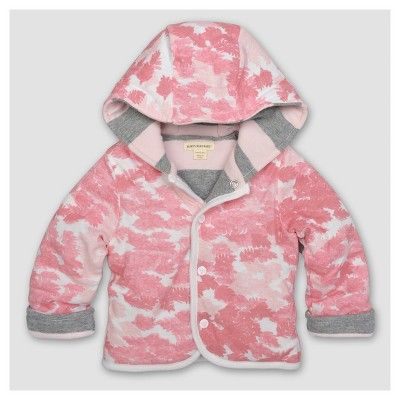 25a532317 Baby Girls  Organic Snap Front Hooded Reversible Jacket Blossom 6-9 ...