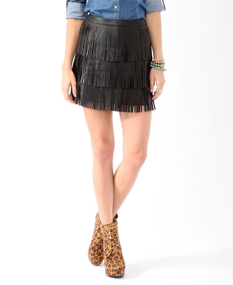 Tiered Fringe Skirt   FOREVER21 - 2025101371