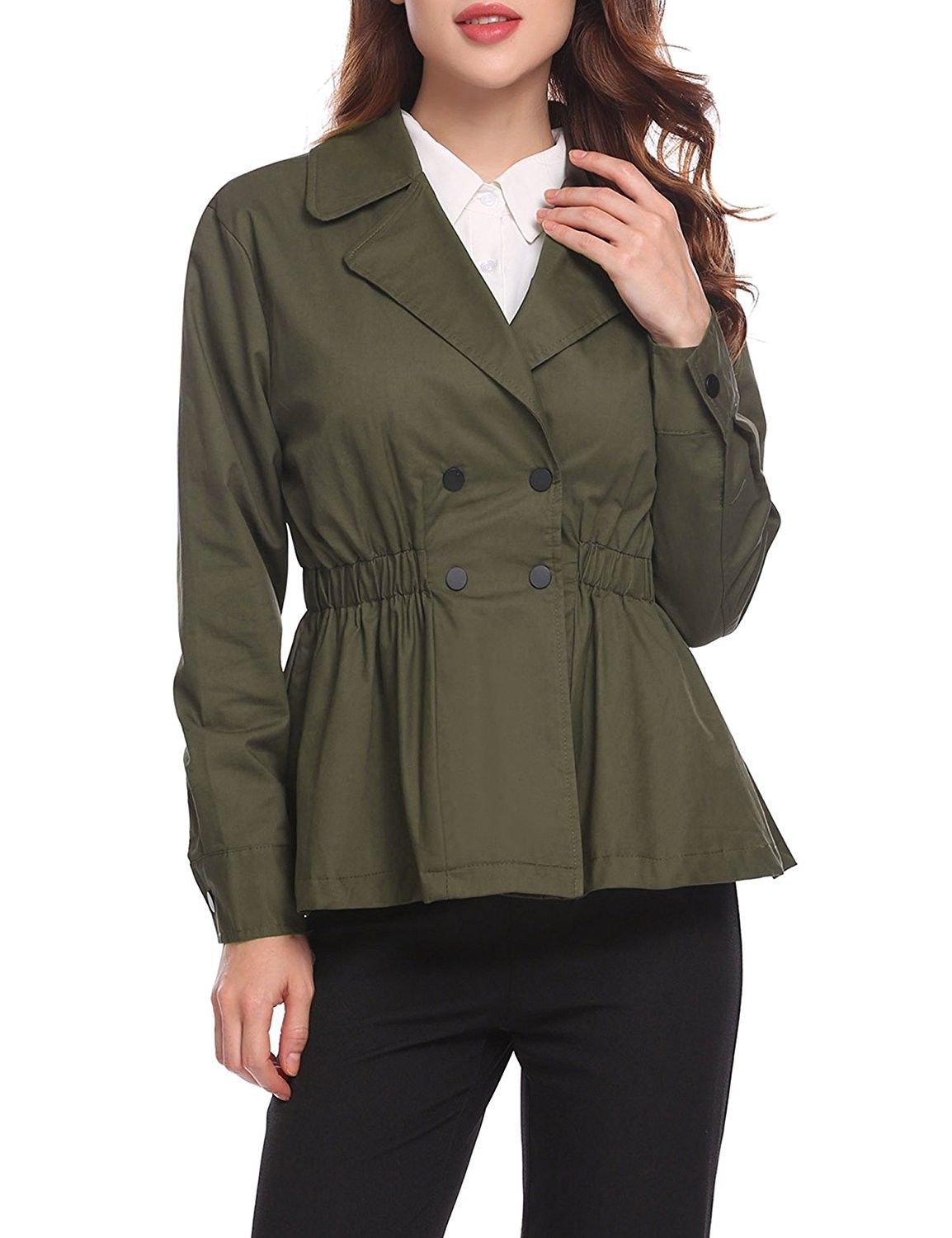 Women S Clothing Coats Jackets Vests Trench Rain Anoraks Trench Coats Women Double B Short Trench Coat Olive Green Jacket Outfits Casual Work Dresses [ 1500 x 1154 Pixel ]