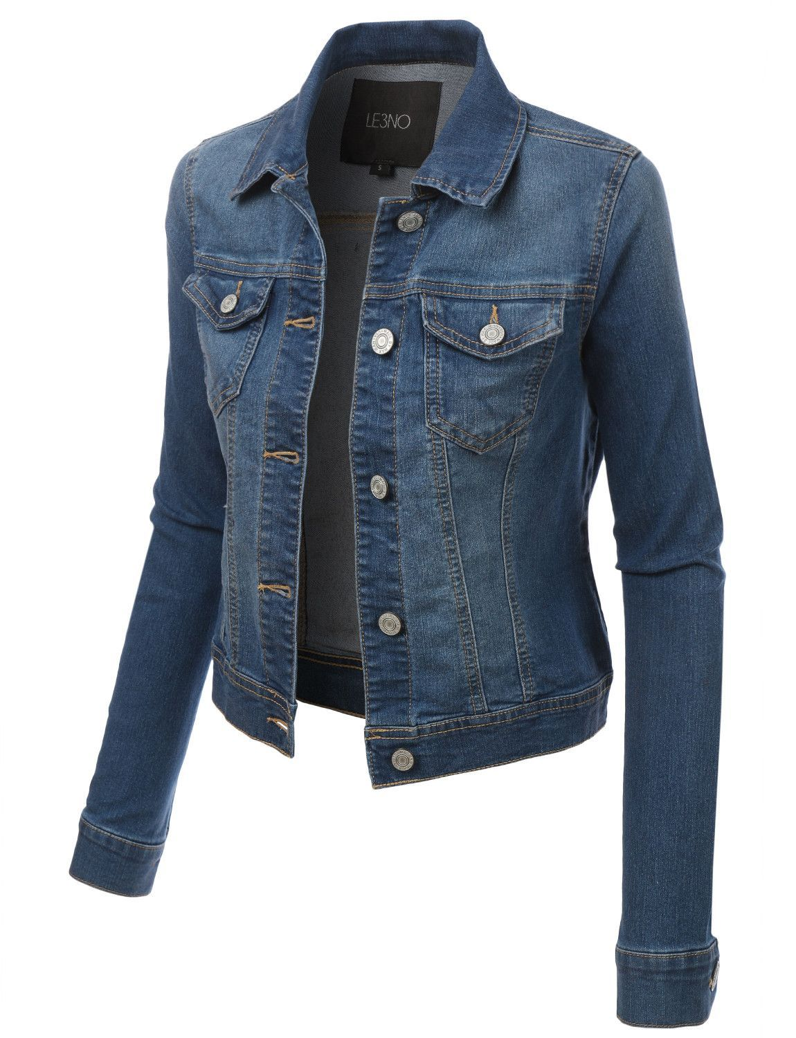Womens classic long sleeve denim jean jacket with pockets products