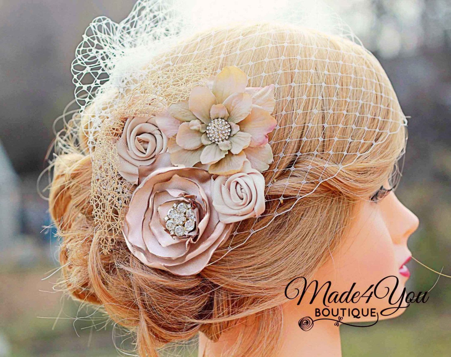 Champagne Birdcage Veil-Gold and Champagne Bridal Fascinator-Wedding Headpiece-Plum and Red Also Available by Made4YouBoutique on Etsy https://www.etsy.com/listing/102398183/champagne-birdcage-veil-gold-and