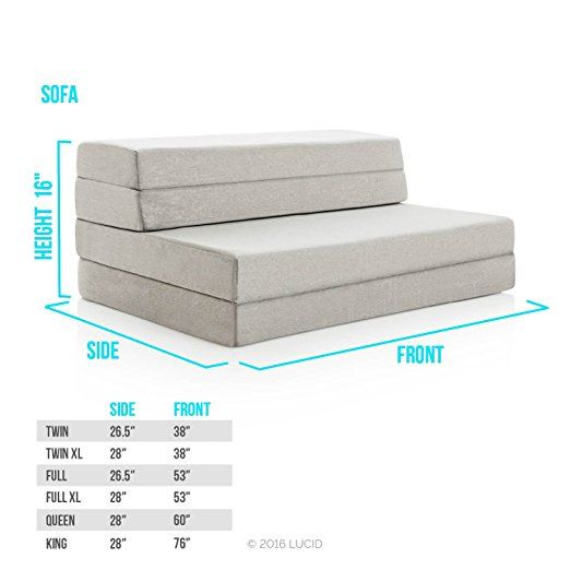 Amazon Com Lucid 4 Inch Folding Mattress And Sofa With Removable