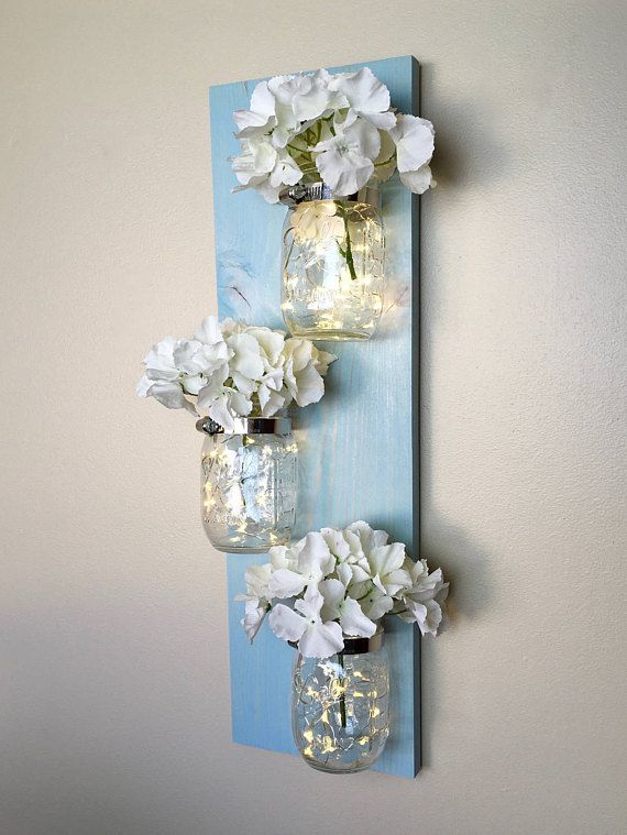 Mason Jar Wall Decor, Lighted Mason jar Decor, Farmhouse Decor, Beach Decor, Rustic Home Decor, Mason Jar gifts, Mothers Day Gift #diywalldecor