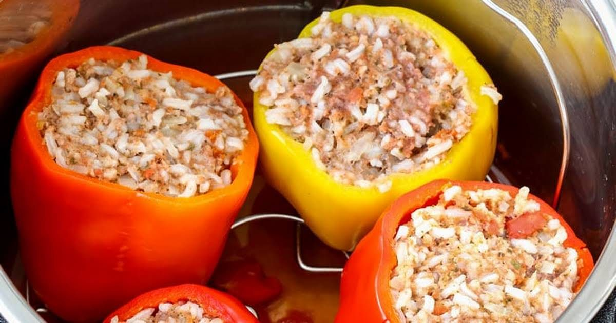 Instant Pot Stuffed Bell Peppers Recipe Yummly Stuffed Peppers Pressure Cooker Stuffed Peppers Stuffed Bell Peppers