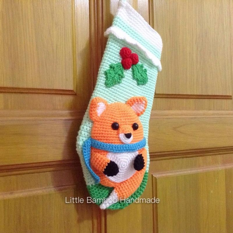 Little Fox Christmas Stocking crochet pattern by Little Bamboo Handmade