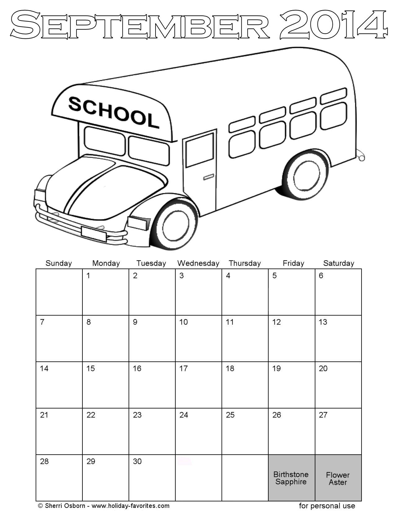 September 2014 School Bus Coloring Page Calendar | Printable Crafts ...