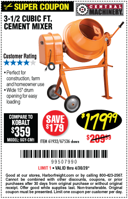 Central Machinery 3 1 2 Cubic Ft Cement Mixer For 179 99 In 2020 Cement Mixers Harbor Freight Tools Cement