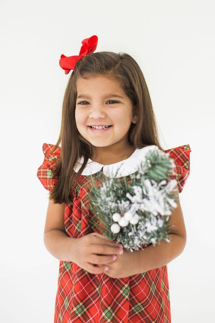 Girls green and red tartan plaid dress little girl