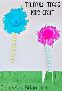 Check out this amazing Dr. Seuss Craft Truffula Trees Fork Painting that is perfect for celebrating Dr. Seuss birthday or encouraging kids to read!