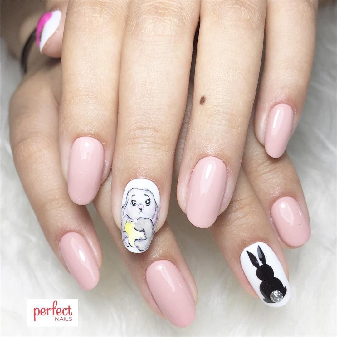Bunny Rabbit Silhouette Nails Nailart Japanesenailart