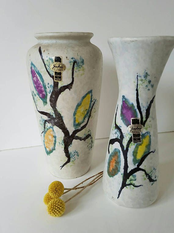 Sechziger Jahre Jasba Keramik Set 2 Vasen Vintage Ceramic Ceramics Vintage