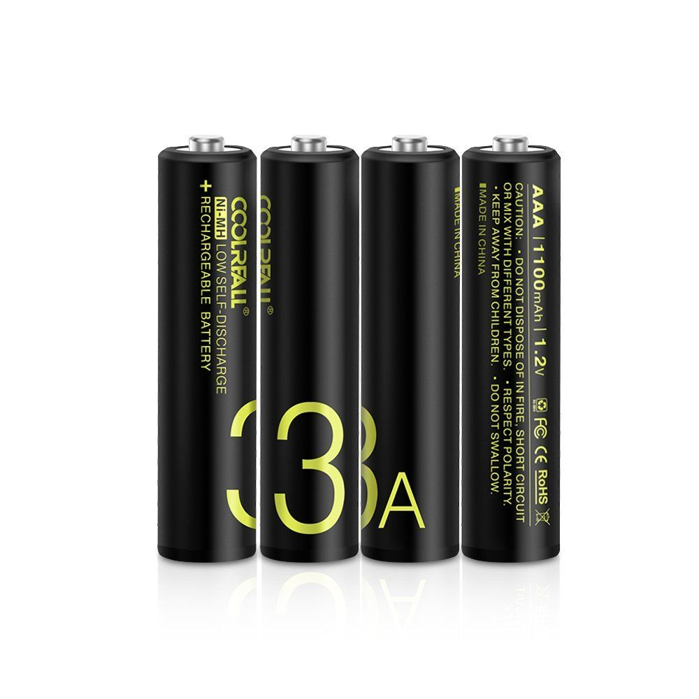 Aaa Piles Rechargeables Coolreall Lot De 4 Ni Mh 1100 Mah Batterie Rechargeable 1 2v Batterie Rechargeable Pile Rechargeable Batterie