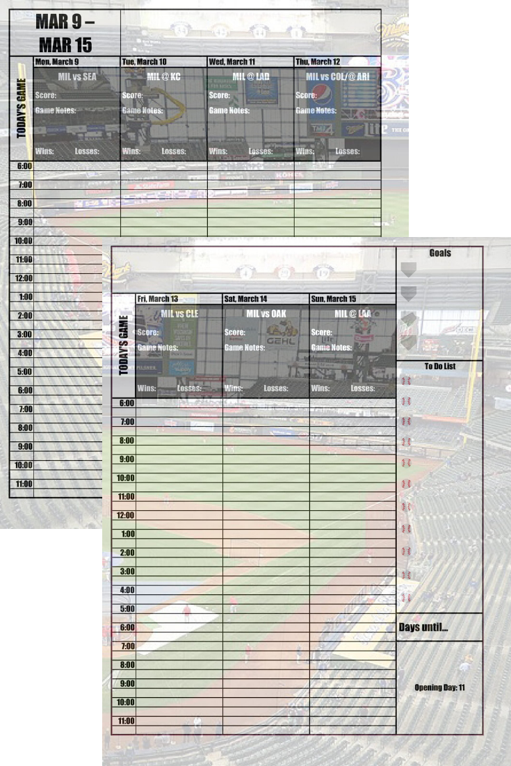 Milwaukee Brewers 2020 Daily Planner Baseball Fan Calendar Printable 8 5 X 11 Instant Download In 2020 Daily Planner Cincinnati Reds Reds Spring Training