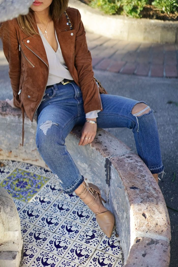a6a5dcf1439 Suede Biker Jacket and Raw Hem Jeans | My stylish woredrobe | Jeans ...