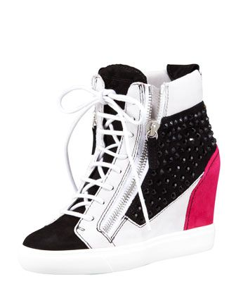 Thursday, May 2nd: Giuseppe Zanotti Crystal Colorblock Wedge Sneaker, Black/Pink/White, 212 872 8947