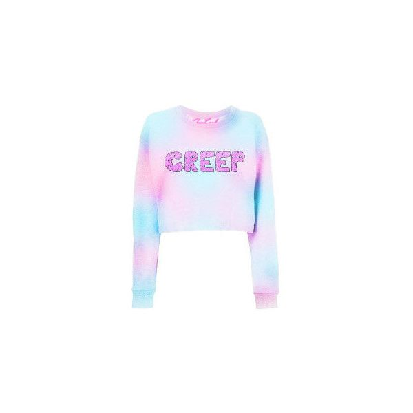 CREEP Printed dyed Pink and Blue Cropped Sweatshirt, Sweater