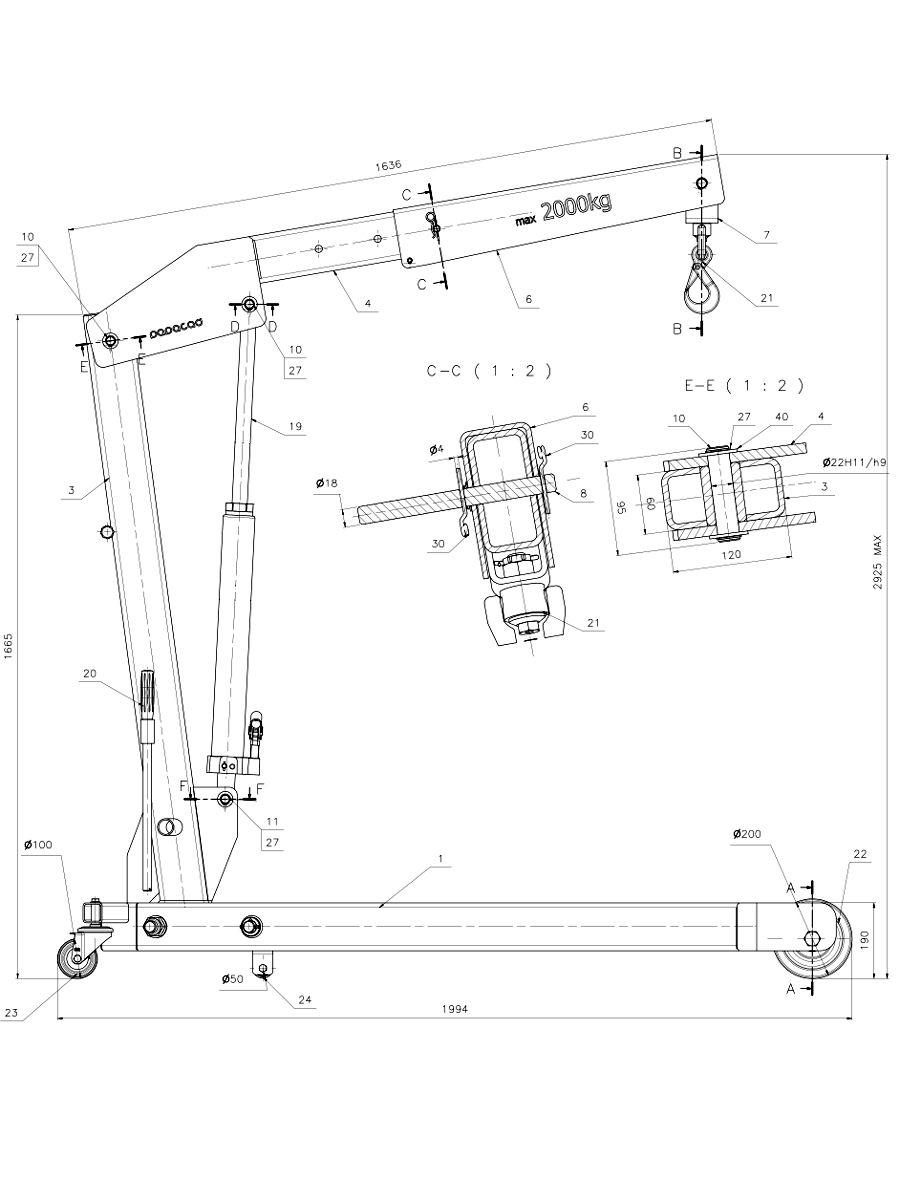 Workshop crane 2d cad dwg drawing 900×
