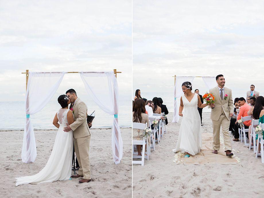 Intimate Beach Wedding Ceremony At Crandon Park In Key Biscayne Florida Destination