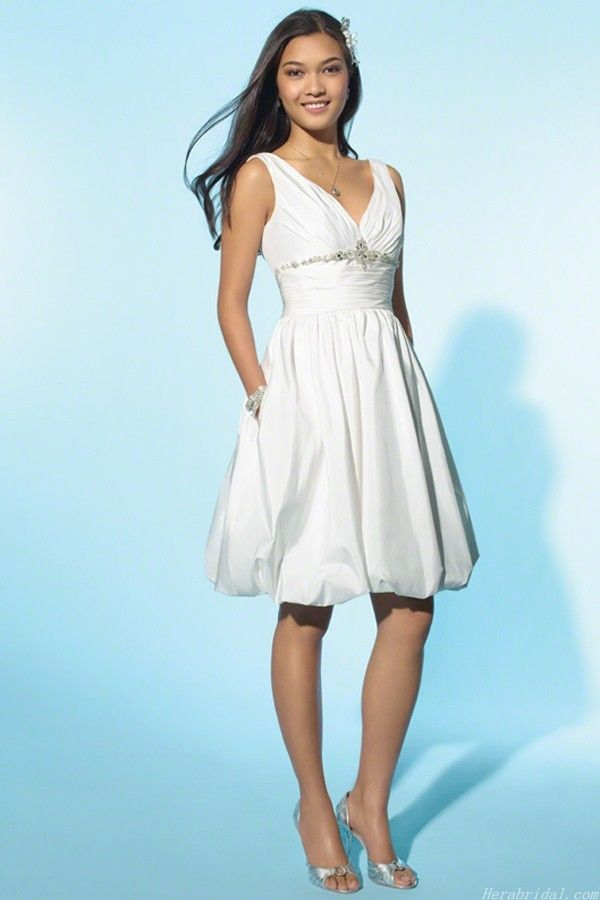 Simple Beading V-neck Taffeta Short Wedding Dress OMG! ARE THOSE ...