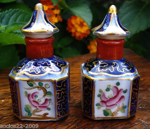 Pair Perfume French Porcelain Scent Bottles Snuff 19th Century