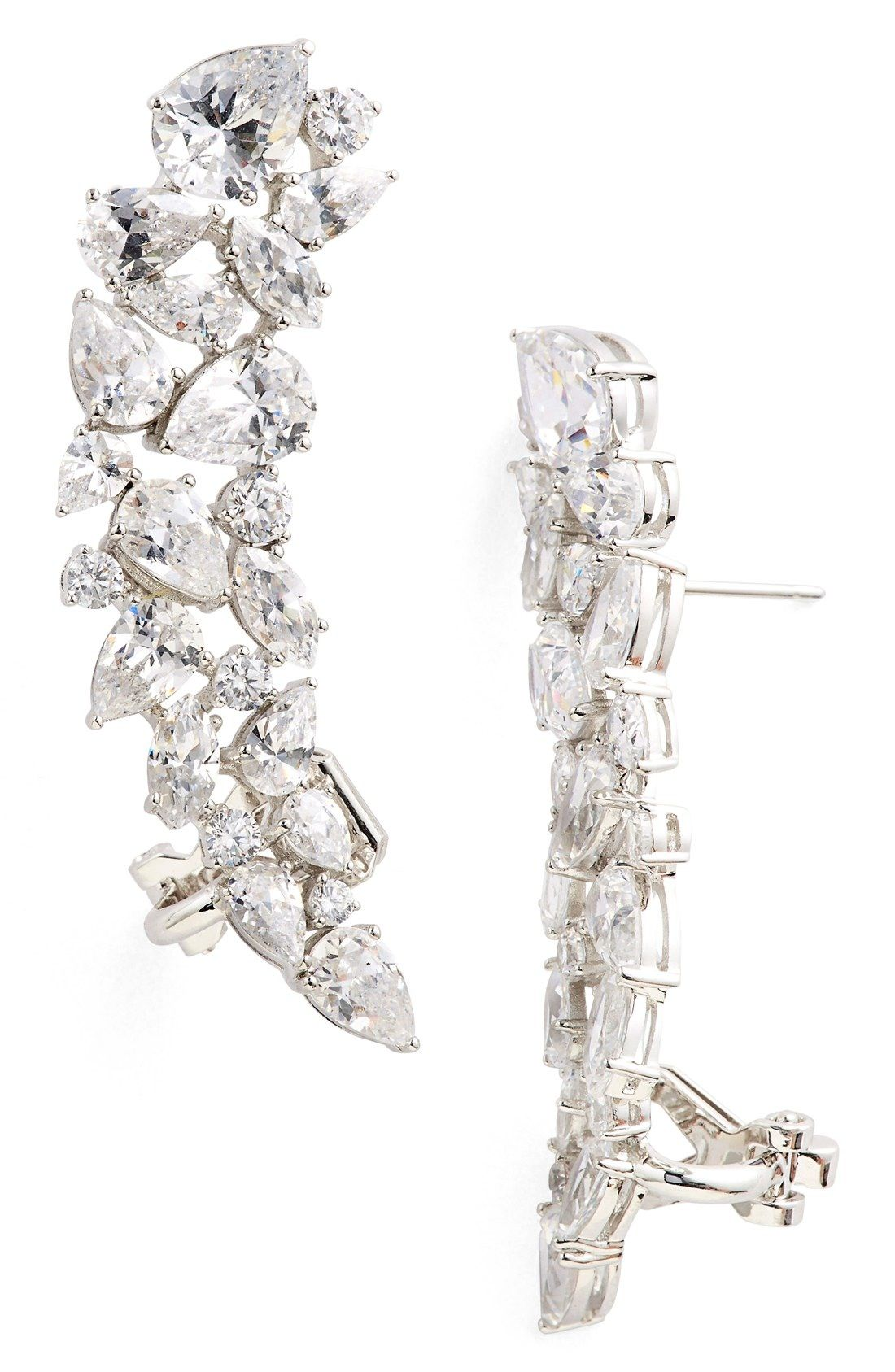 Nadri Cubic Zirconia Stud Ear Crawlers available at Nordstrom