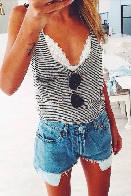 stripes + lace + denim #amourvert