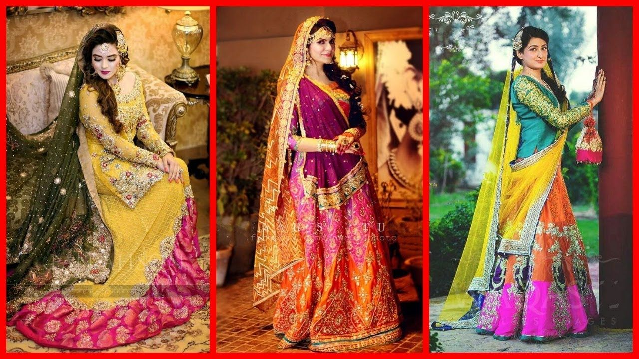 Mehndi Function Dresses : Latest stylish mehndi mayun dresses bridal henna