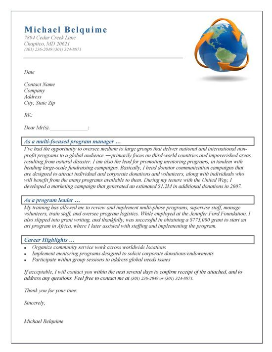 Program Manager Cover Letter Example Cover letter example - program proposal