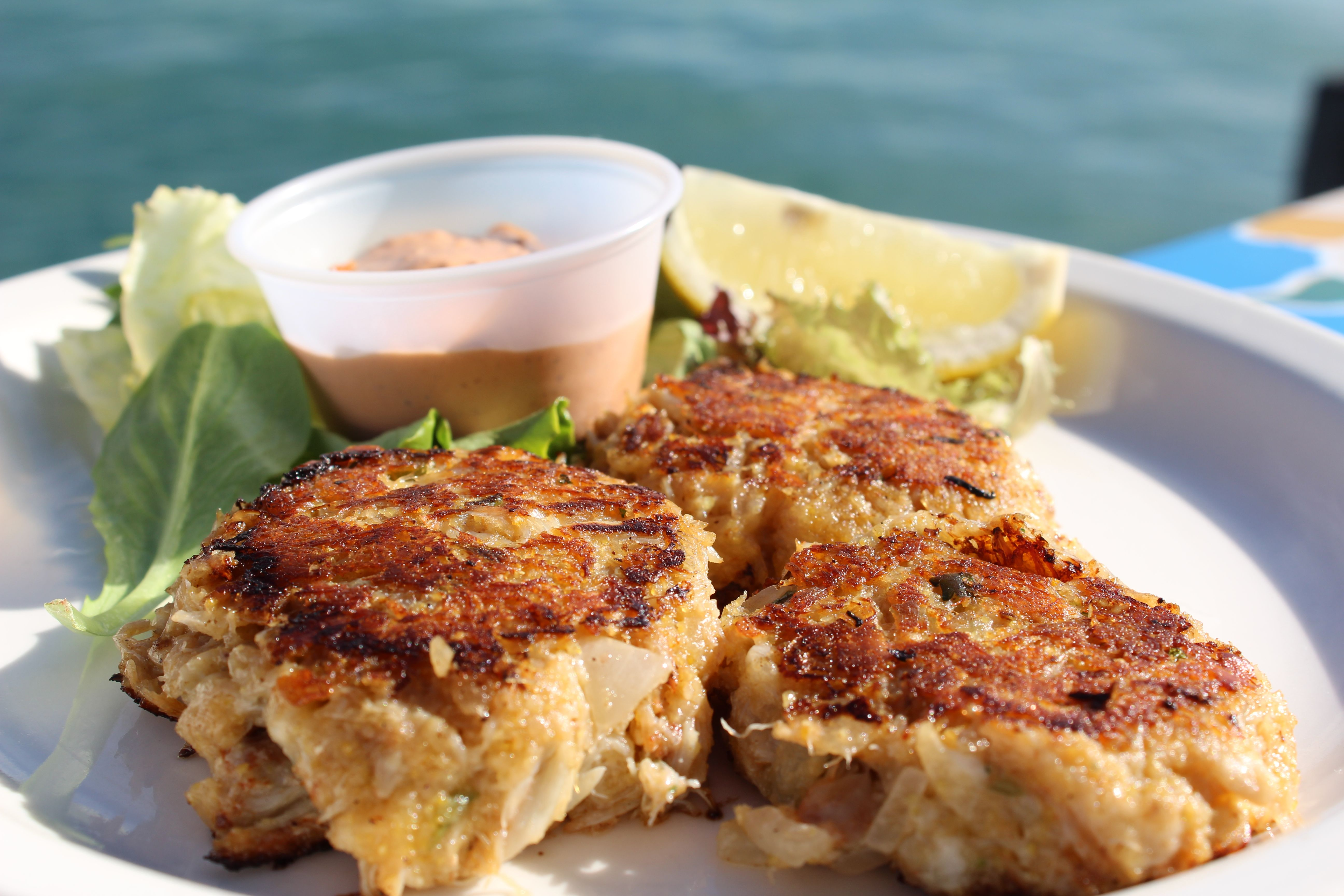 Fresh Crab Cakes at Pete's Pierside Cafe Cafe food
