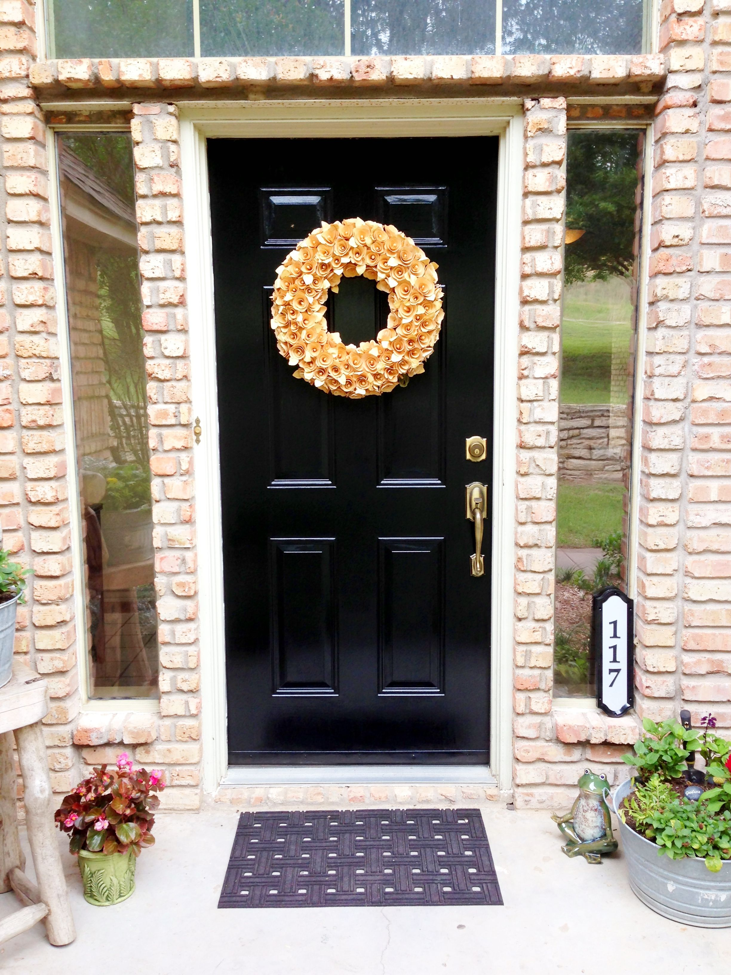 Pin By Heather Bliss On A Beautiful Home Exterior House Doors Exterior Door Paint Colors Yellow House Exterior
