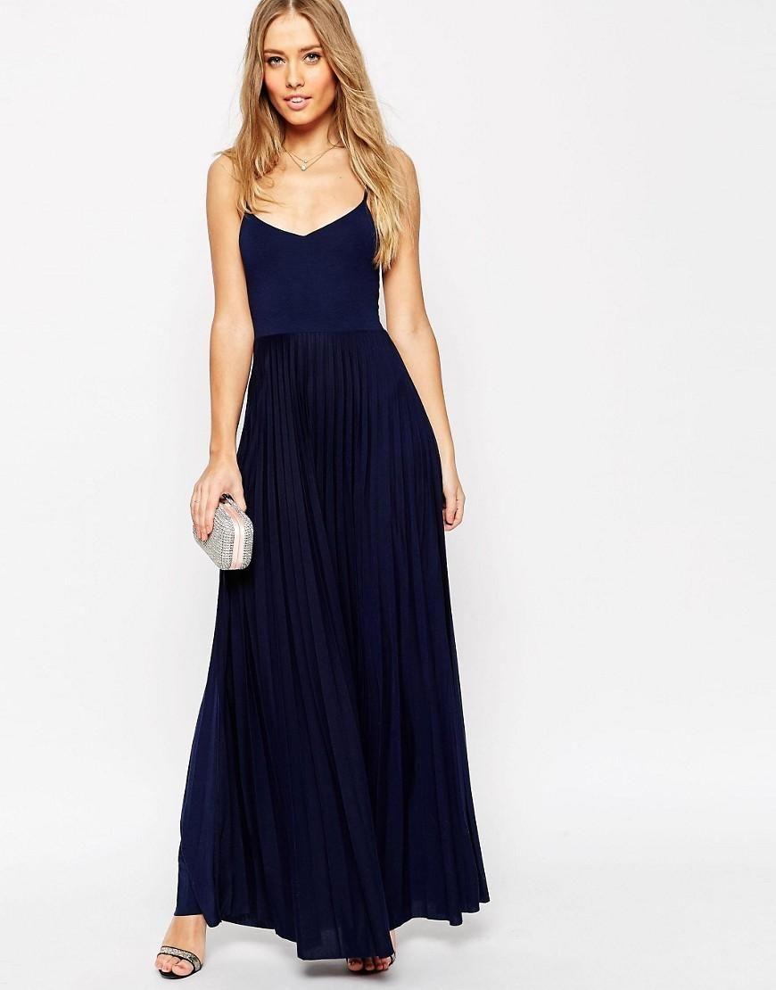 ASOS  ASOS Cami Maxi Dress with Pleated Skirt at ASOS