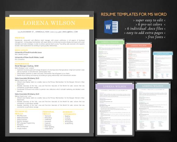 modern 3 in 1 word resume bundle by inkpower on u2026
