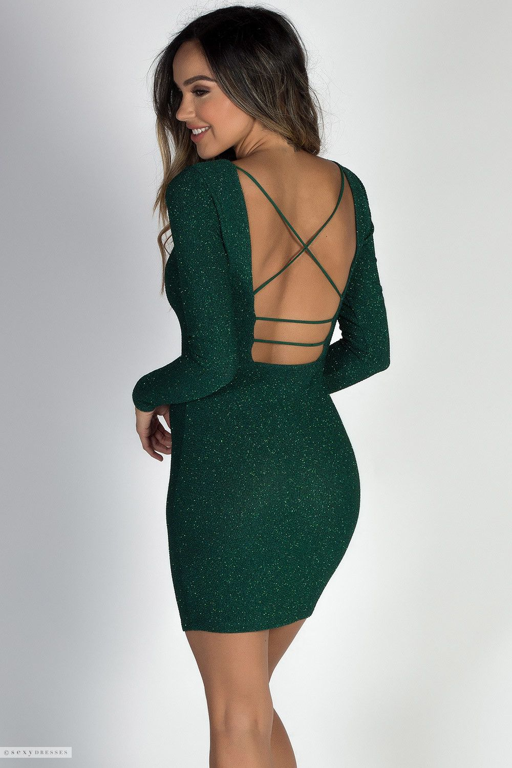 Bodycon Sparkly Green Glitter Mini Dress with Long Sleeves   Open Strappy  Back Cut Out 86af83351