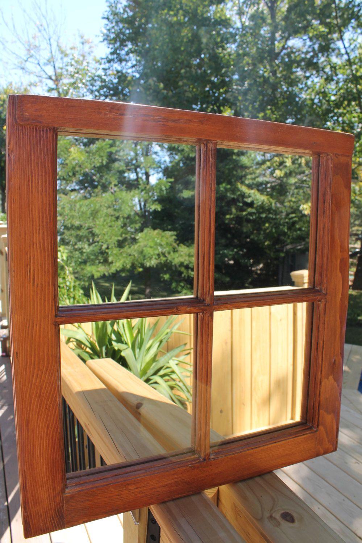 Vintage Pane Window Wood Mirror 4 Pane Mirror Rustic Wood Mirror Window Framed Mirror Primitive Mirror Home Decor Shabby Chic Wood Mirror Wood Table Rustic Old Wood