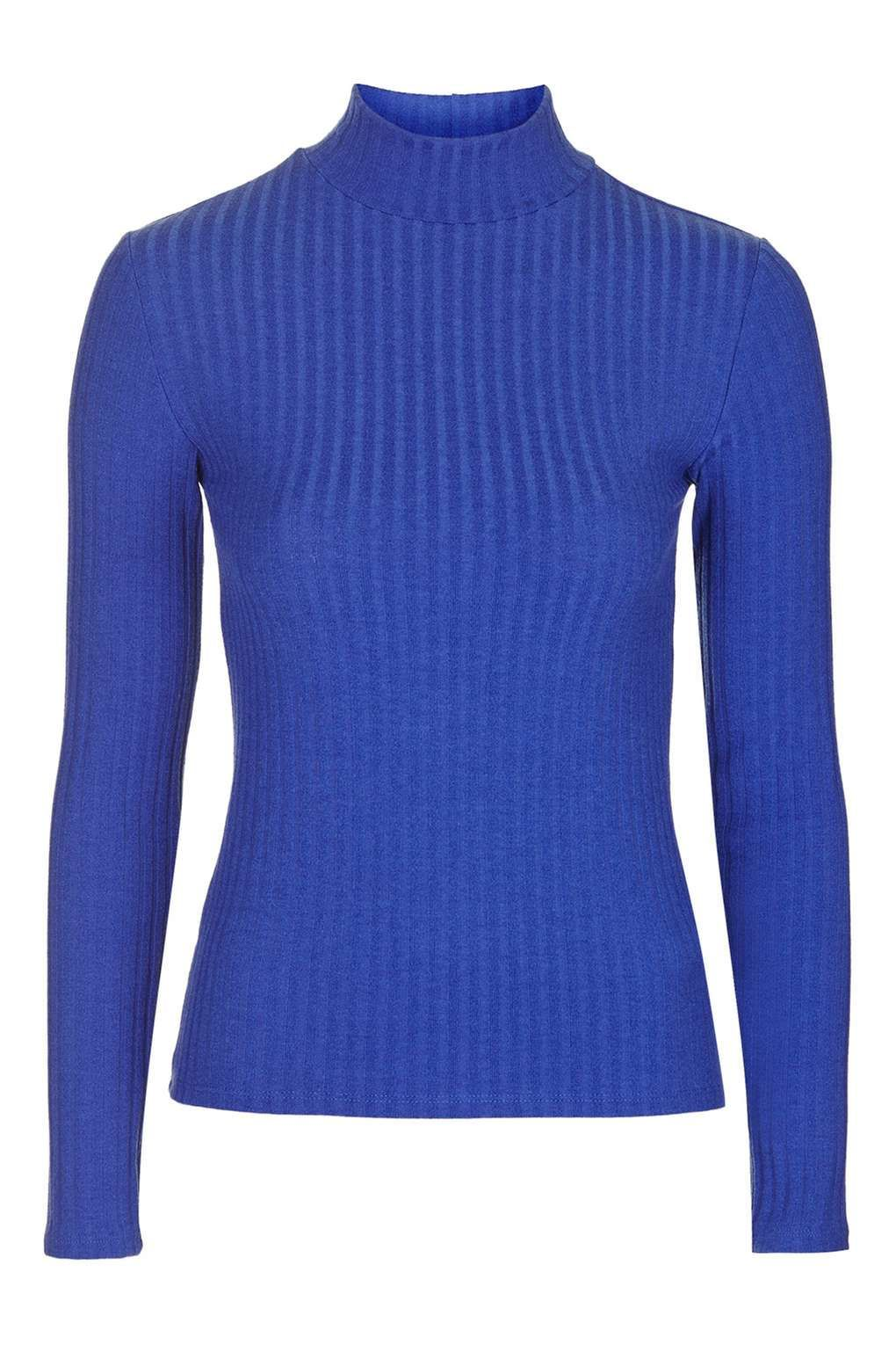 Long Sleeve Wide Rib Roll Neck - Tops - Clothing - Topshop
