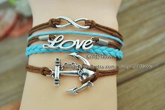 AnchorLoveInfinity charm bracelet  Brown wax rope Blue by GiftShow, $3.99 Beautiful handmade bracelet.