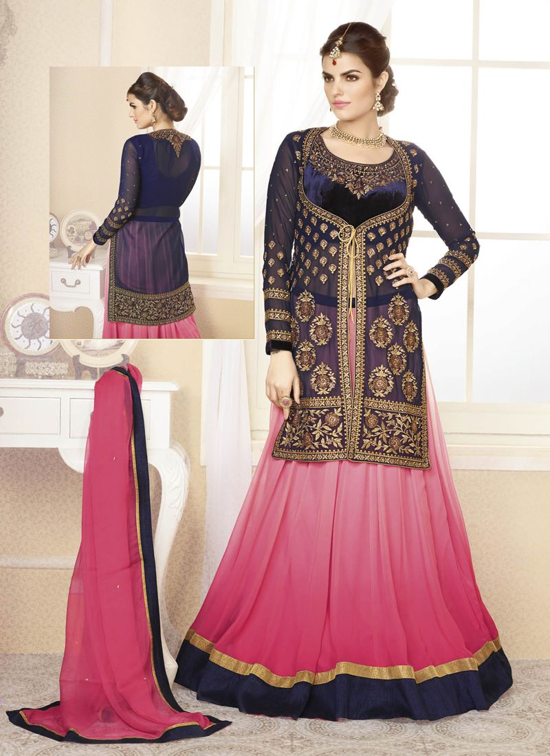 Pink dress shirt blue suit  Blue Georgette shirt and pink lehnga  Party wear  Pinterest