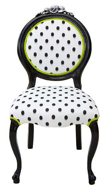 Chair Dining/Side Chair ~ White U0026 Black Polka Dot Chair, With A Hint