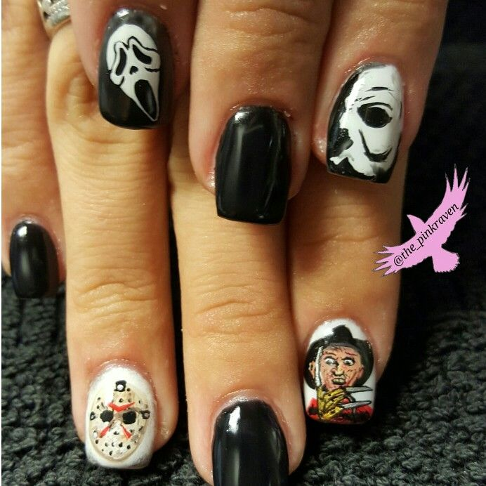 Jason Freddy Krueger Halloween Mike Myers Mask Scream Ghostface Custom Nails Nailart Halloween Halloween Nails Nails Halloween Nail Designs Funky Nail Designs