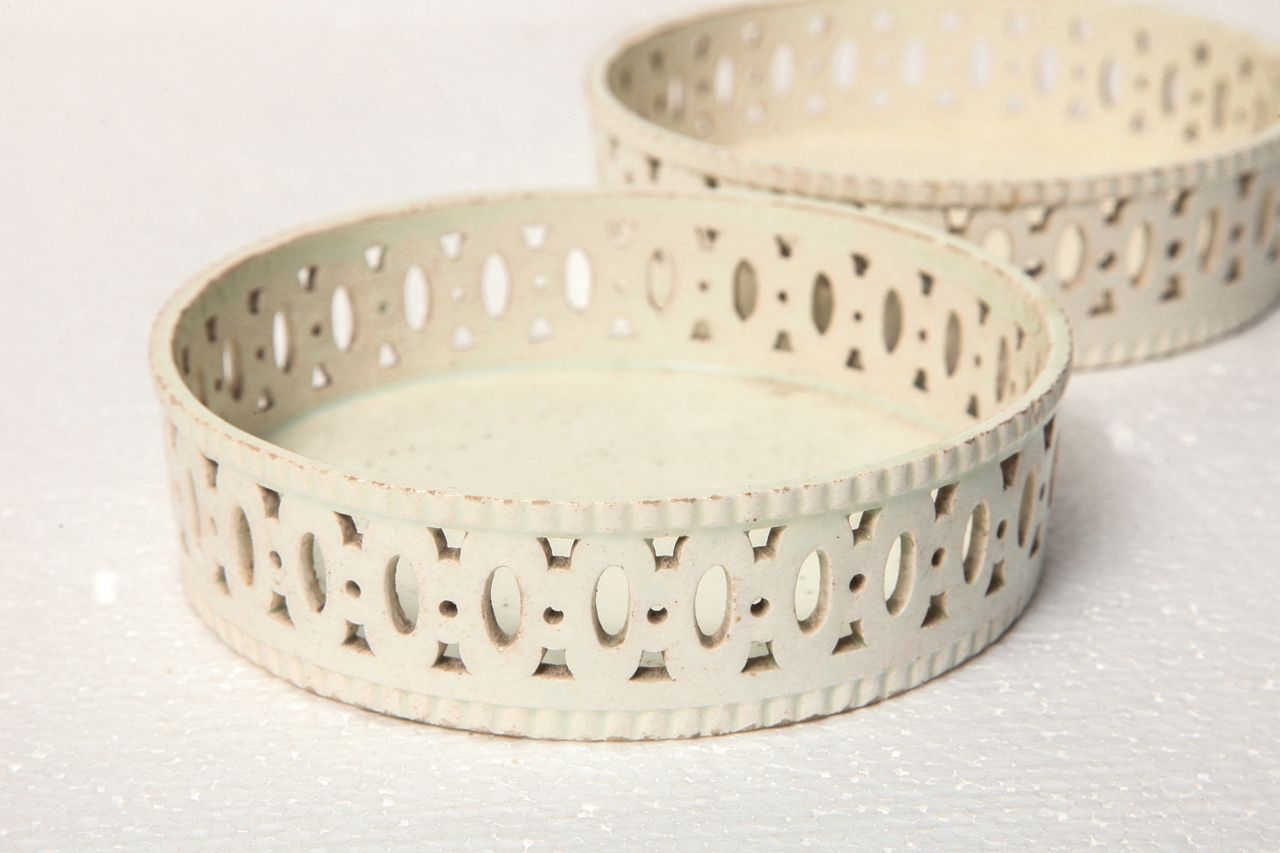 Pair of th century creamware coasters pottery and modern
