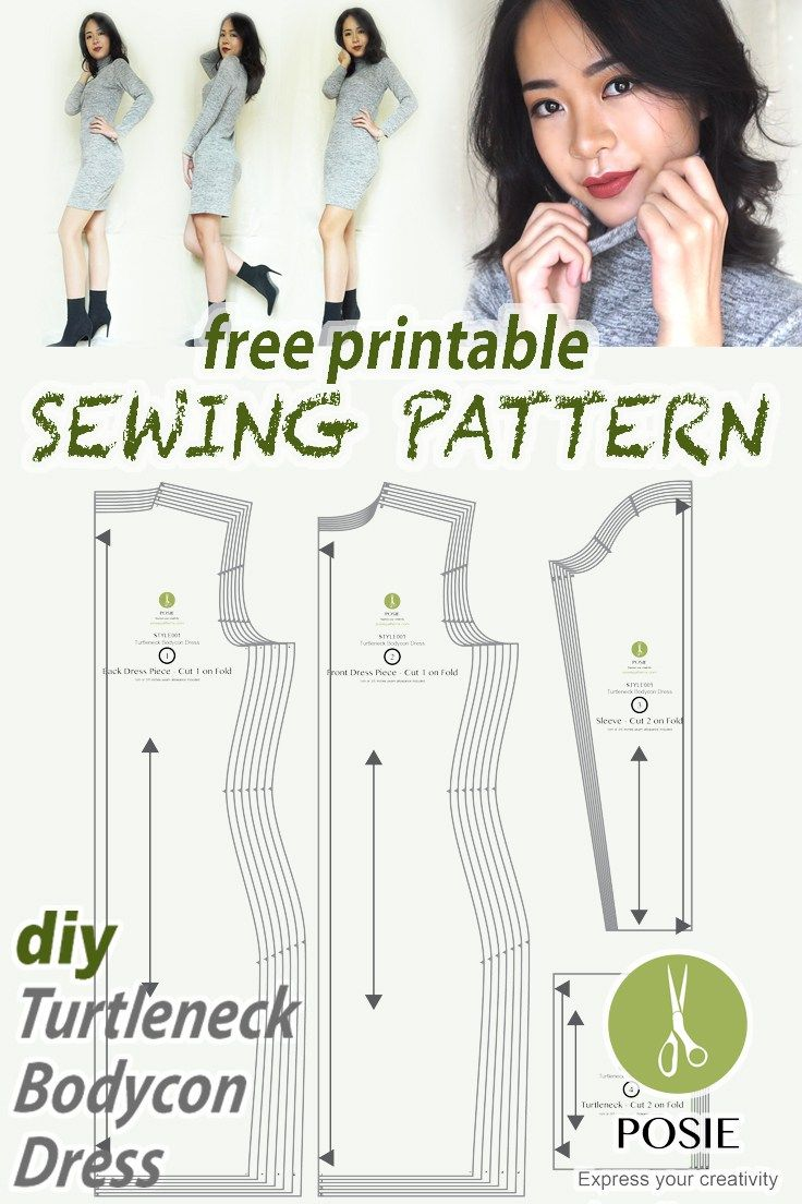 photograph regarding Free Printable Plus Size Sewing Patterns titled Free of charge pdf sewing routine at my weblog! Do it yourself turtleneck bodycon