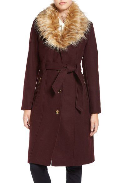 GUESS Trench Coat with Faux Fur Trim available at #Nordstrom