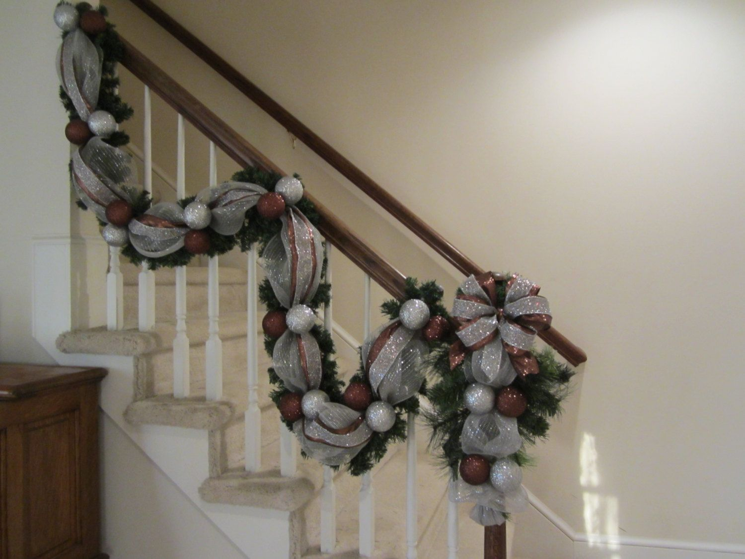 christmas stairway garland u0026 swag tear drop set deco mesh wall