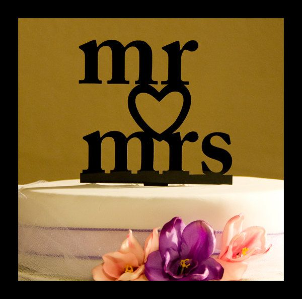 Wedding Cake Topper Mr and Mrs with Heart. $13.95, via Etsy.