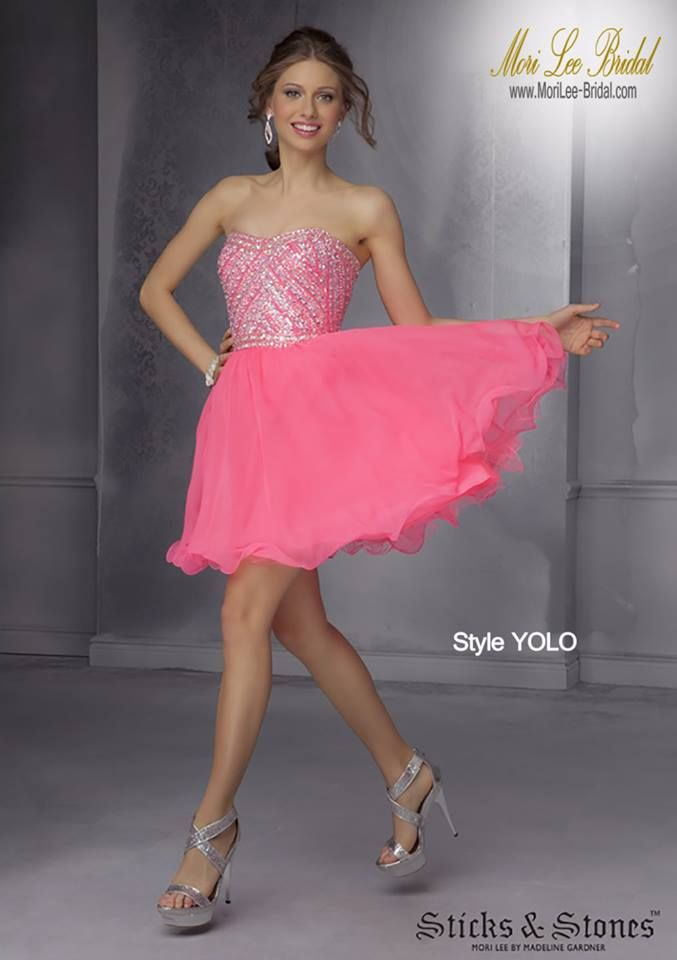 Style YOLO Chiffon with beading Zipper back. Colors available: Neon ...