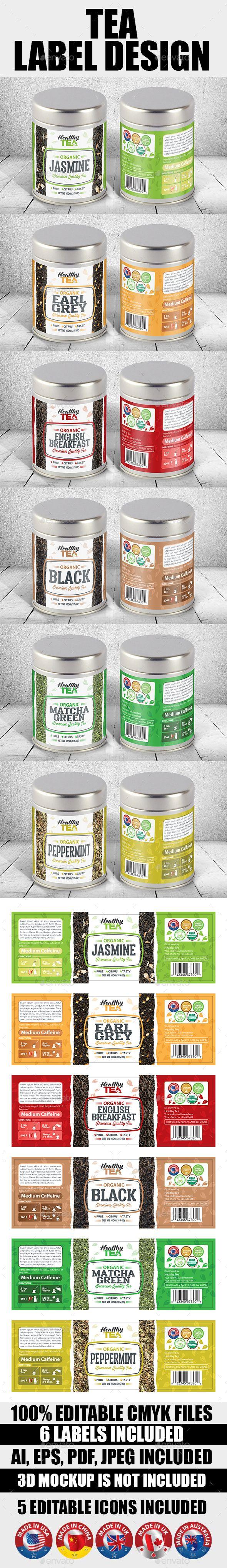 Tea Label Templates Vol-01 | Label templates, Ai illustrator and ...