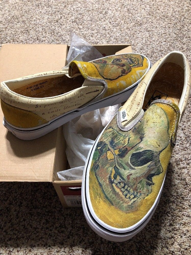 2e05b525305 Vans x Van Gogh Skull Classic Slip On Men s US size 6.5 Women s US size 8   VANS  SkateShoes Find great deals for VANS X Vincent Van Gogh Museum Skull  Slip ...
