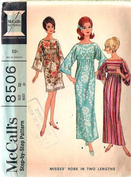 1960s Beach Cover Up or Caftan Robe Hostess Patio Dress Pattern Make It Out Of Beach Towels or Fabric Quick n Easy McCalls 8506 Vintage Sewi...