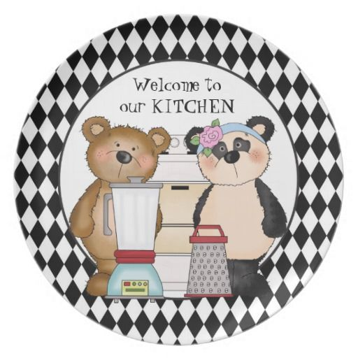 Country Bear Welcome To Our Kitchen Cartoon Plate Kitchen Cartoon Country Western Decor Kitchen