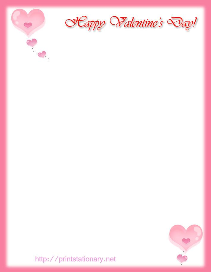 Free Printable Happy Valentine S Day Stationary Letterhead Print Out Free Kids Statio Paper Template Free Valentines Printables Free Free Printable Stationery